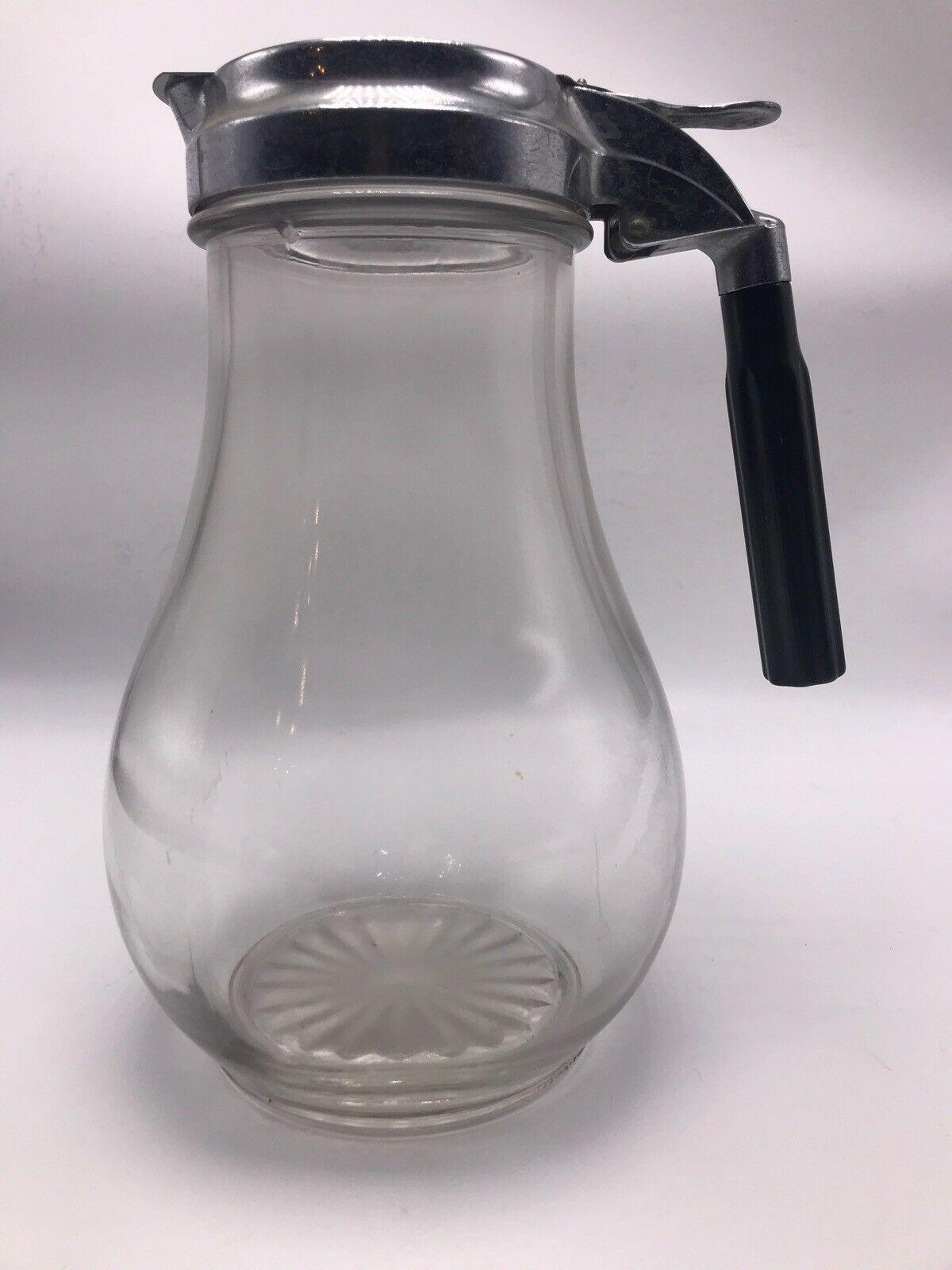 "Glass Pitcher Metal Slide Spout Juice Water Bakelite Handle 8.5"" Vintage 1940's - $30.95"