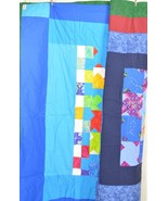 Quilt throw handmade reversible two sided blues greens 58 x 53 - $128.70