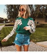 Autumn Knitted Cropped Sweater for Women Leopard Pattern Long Sleeve Kni... - $39.04+