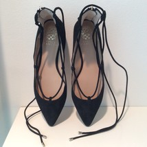 Vince Camuto Suede Ankle Tie Shoes Blk New - $49.00