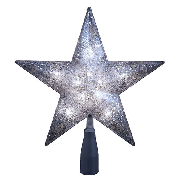 KURT ADLER 5-POINT SILVER GLITTER STAR 10-LIGHT TREETOP TREE TOPPER XMAS DECOR - $17.88