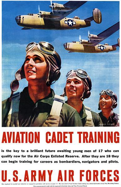 Primary image for Aviation Cadet Training - 1943 - US Army Air Forces Military Recruitment Poster