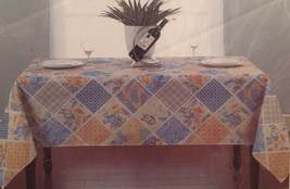 Floral Patchwork Yellow Blue Fabric Tablecloth 60 x 84 Oblong - €17,12 EUR