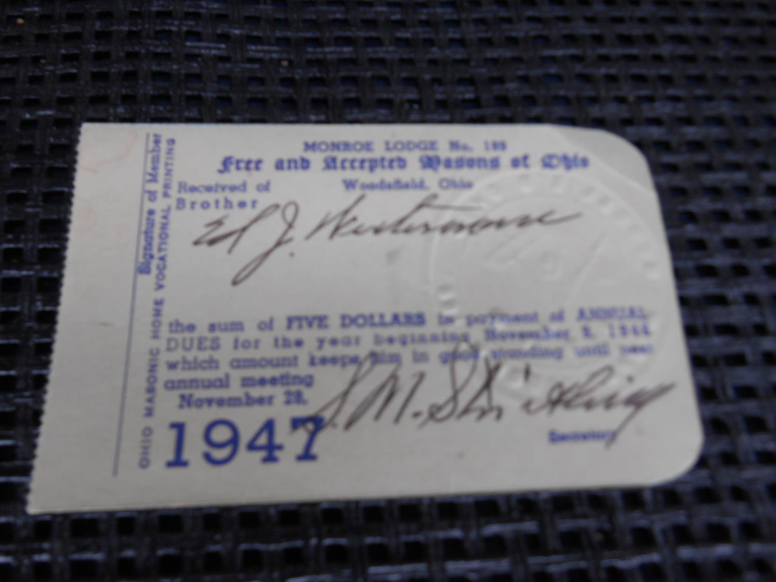 Old Vtg Masons Of Ohio Monroe Lodge #189 and 50 similar items