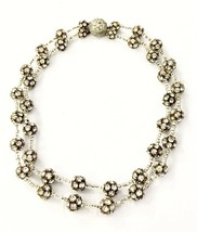 Rhinestone Ball & Bead Spacer Double Strand Clear Necklace - $85.36