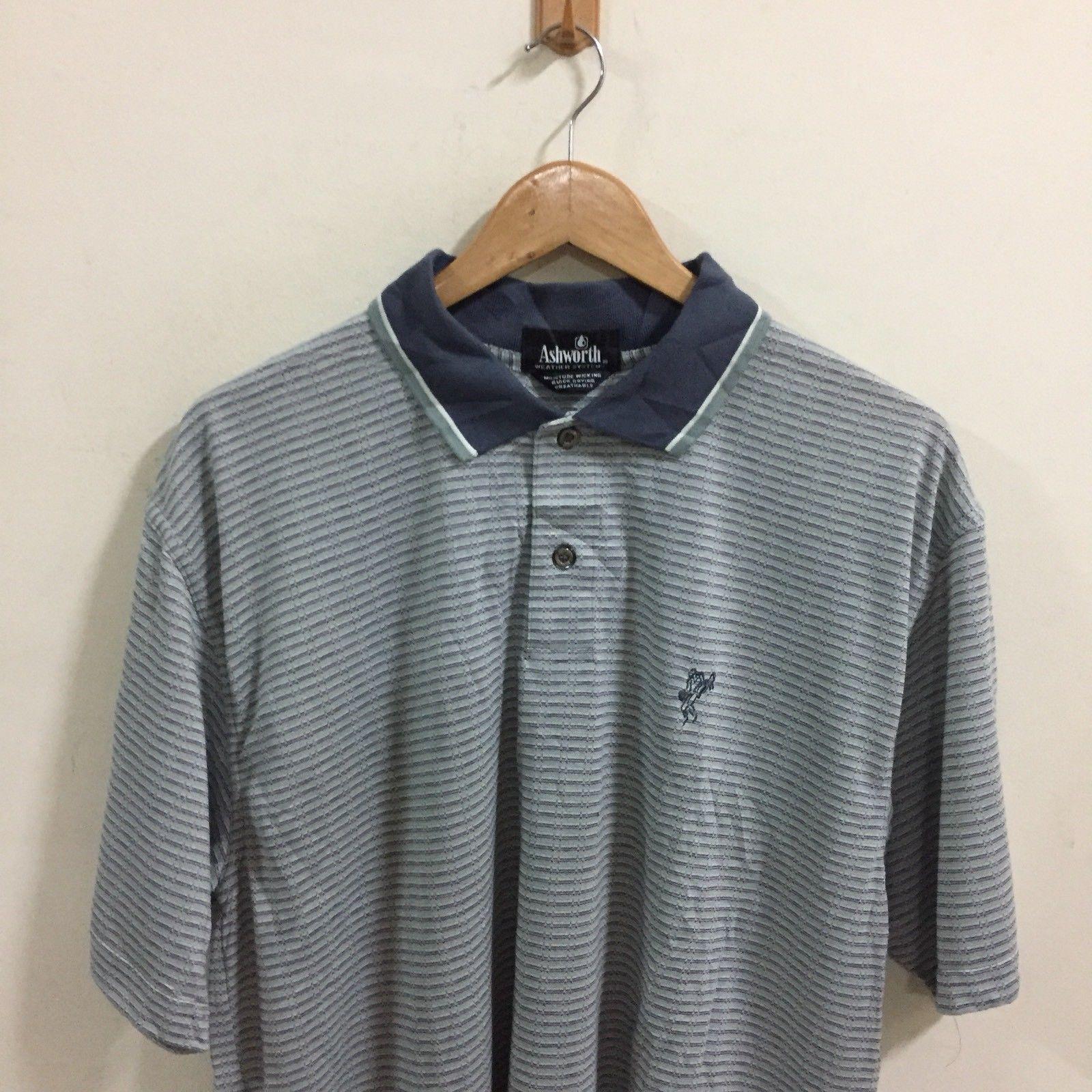 Ashworth Golf polo Shirt Men's Size Medium Stripe Made In USA S/S