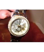 Accutime Watch Corp Womens Link Bracelet Watch Silver & Gold Metal w/Rhi... - $18.76