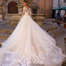 Celeb Vintage Bridal Euro Designer Long Sleeve Button Illusion Floral Embroidere image 3
