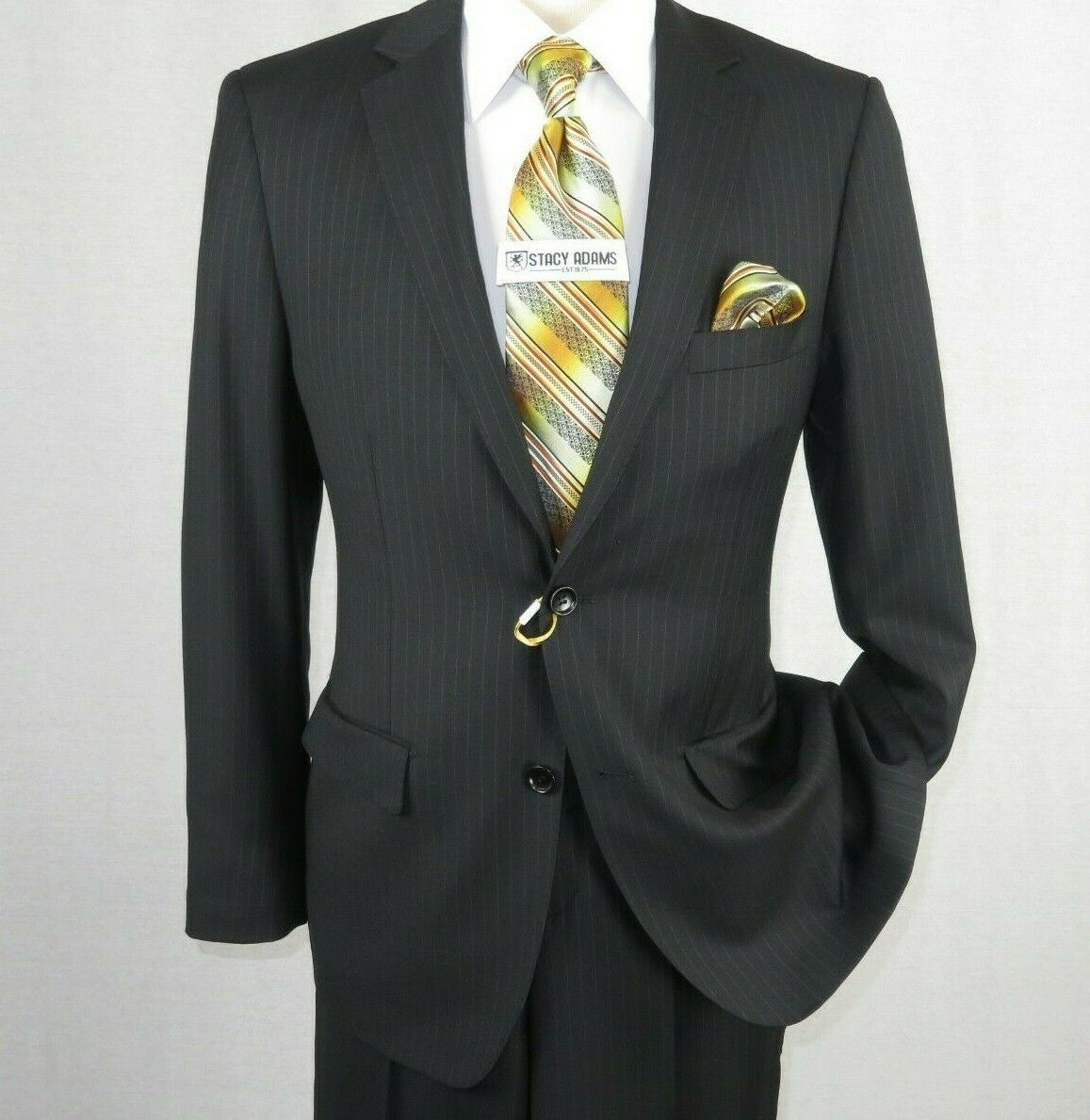 Primary image for Men MANTONI Suit 100% Wool Classic Pinstripe 2 Button Regular Fit M87184-1 Black