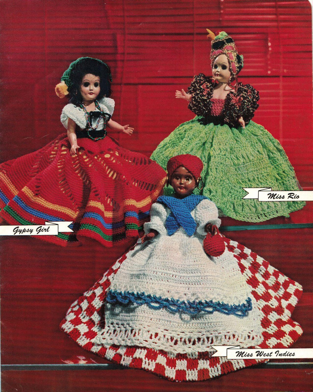"Vtg 1952 8"" 11"" Americas State Dolls Costume Clothes Georgia Rio Crochet Pattern image 5"