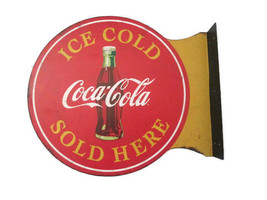 Coca-Cola Sold Here Tin Flange Sign Disc- Brand New - $26.73