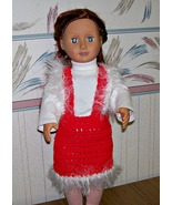 American Girl Crocheted Jumper, Handmade, OOAK, 18 Inch Doll, Fir Trim - $22.00