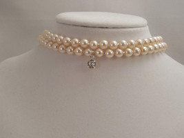 Cute and Sexy, Two Strand, 6mm Cream Glass Pearl Choker with Swarovski P... - $35.00