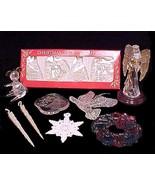 Vintage Christmas Tree Ornaments Plastic Angel Icycles Snowflake Wreath ... - $14.95
