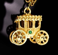 Cinderella Carriage necklace/ mechanical charm / wheels really move / rh... - $95.00