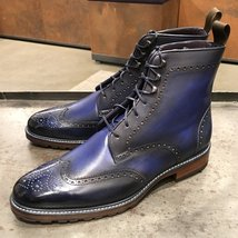 Handmade Blue Patina Ankle High Boots for Mens Premium Quality Custom made boots - $189.99 - $219.99