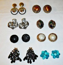 LARGE SIZE VINTAGE COLLECTION LOT 8 QUALITY CLIP EARINGS J1 SHOWN IN PHO... - $27.61