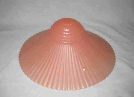 "Gorgeous Vintage 11"" Pink Glass Ceiling Light Fixture Shade Ribbed - $83.99"