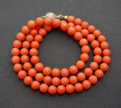 Mediterranean Coral Beads 6.5 mm Necklace Sterling Vermeil Clasp 18 inches 26.3g - $395.00