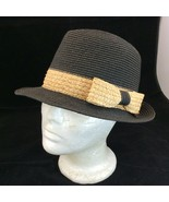 Scala Pronto Black Fedora Trilby Hat with Tan Band One Size - $19.75
