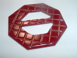 Vintage Large 2.5 Inch Cherry Red bakelite Belt Buckle - $20.00