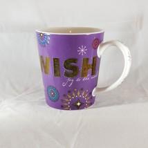 Starbucks Wish Holiday Mug Purple Joy to the World Snowflakes Metallic 2006 - $12.86