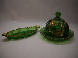 VINTAGE Green PRESSED Glass COVERED BUTTER and Pickle Dish Set GOLD Acce... - $49.49