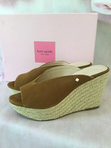 KATE SPADE THEA ESPADRILLE PLATFORM HEEL SLIP ON SHOES COLOR TOAST 8M SUEDE - $135.00