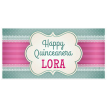 Pink Ribbon Quinceañera Birthday Banner Personalized Party Backdrop - $22.28+
