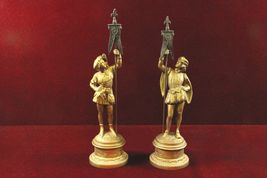 Pair Gilded Men  Statues Holding  Banner Flags - $160.83