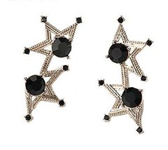 European Style Star Bead Temperament Dangler Vintage Earrings, Black