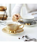 LOULONG® English Style Brief Afternoon Tea Coffee Cup Saucer Sets Bone C... - $30.45