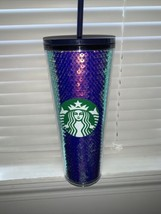 Starbucks 2020 Blue and Iridescent Sequin Cold Tumbler Venti 24 Oz - $41.14