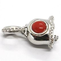 925 STERLING SILVER, LITTLE BELL, BELL WITH ZIRCON, CORAL, PENDANT image 5