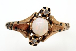 10K Rose Gold Ring with A Round Genuine Natural Opal and Two Diamonds (#415) - $299.25