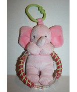 """Carters Pink Baby Elephant 7"""" RING Rattle Plush Soft Toy Stuffed Green L... - $14.48"""
