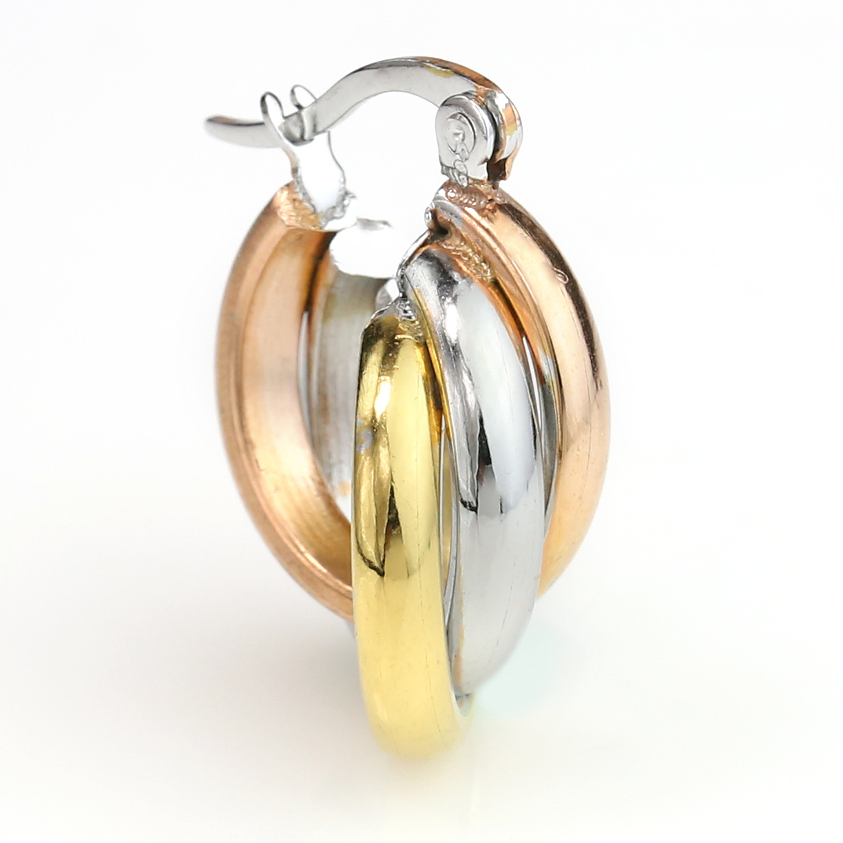 Small Twisted Tri-Color Silver, Gold & Rose Tone Hoop Earrings- United Elegance