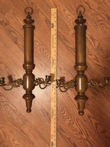 """Wall Sconces Candleholders Wood and BrassVintage 25"""" REGENCY style - $74.79"""