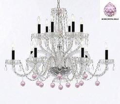 Murano Venetian Style All Empress Crystal (Tm) Chandelier with Pink Crystal Ball - $259.69