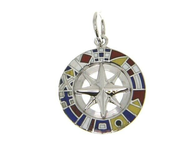 "SOLID 18K WHITE GOLD COMPASS WIND ROSE PENDANT 1.5cm 0.6"" ENAMEL NAUTICAL FLAGS"