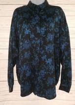 Diane Von Furstenberg Blouse Sz 16 Women Black Blue Floral Long Sleeve C... - $31.68