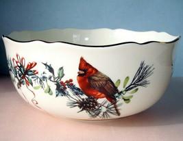Lenox Winter Greetings Serving Bowl Birds/Foliage Motif & Scalloped Edge... - $98.90