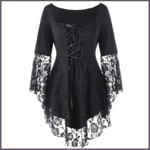 Black Plus Size Gothic Lace Up Front Flare Sleeves Irregular Extended Lace Hem