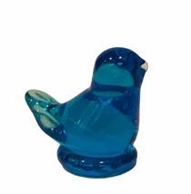 Bluebird Happiness glass figurine signed Leo Ward Ron Trumbull vtg blue ... - $19.25