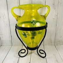 Teleflora  Lime Yellow With Blue White Sommerso Glass Urn Shaped Vase St... - $98.99