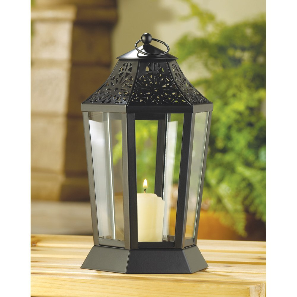 Decorative Candle Lanterns, Rustic Black Lantern Candle Holder Outdoor Decor
