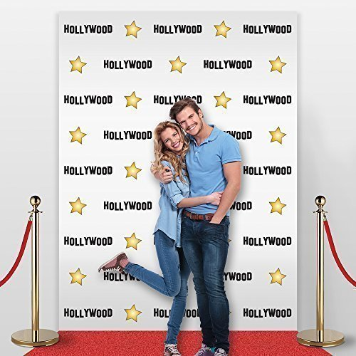 8' X 4' Hollywood Star Themed Step and Repeat Backdrop for Red Carpet Events, Pa