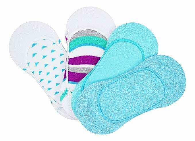 HUE 4-Pack Low Cut Women's Liner Socks Neon Blue OS