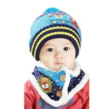 Christmas Baby Child Toddler Cotton Knitting Wool Hat/Cap&Scarf 10-36Months Blue
