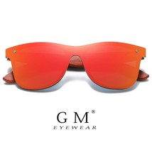 GM Red Wood Rimless Polarized Men Sunglasses Square Frame Sun glasses Wo... - $18.83